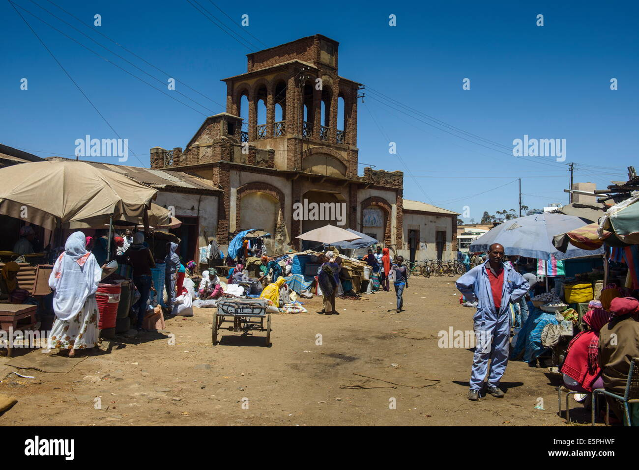 Gate of the Medebar market, Asmara, capital of Eritrea, Africa - Stock Image