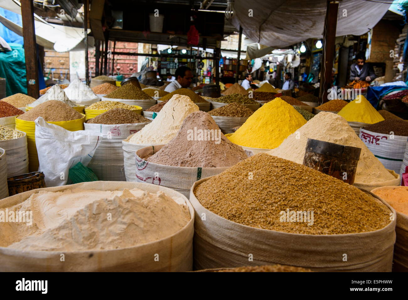 Spice market in the Old Town, UNESCO World Heritage Site, Sanaa, Yemen, Middle East - Stock Image