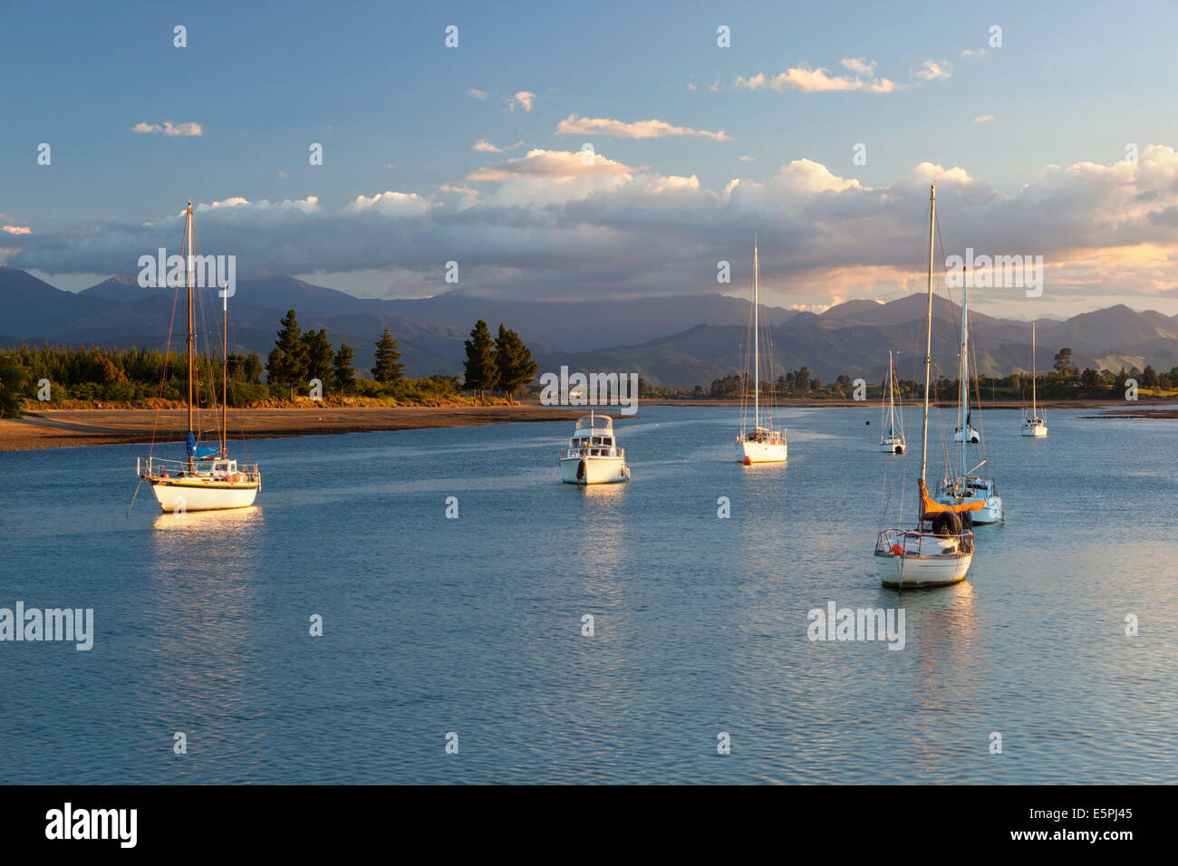 Yachts anchored in estuary, Mapua, Nelson region, South Island, New Zealand, Pacific - Stock Image