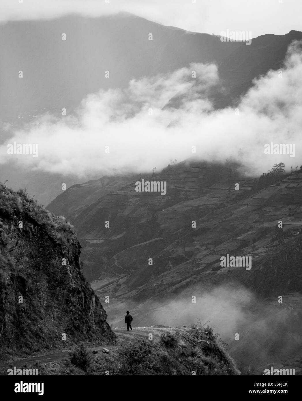 View through valley, Sorata, Cordillera Real, Bolivia, South America - Stock Image