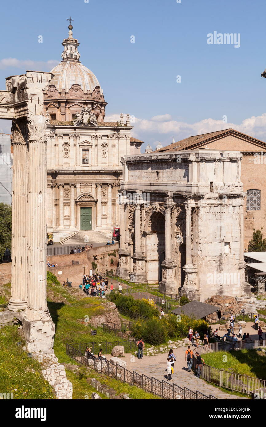 The Roman Forum (Foro Romano), Rome, Lazio, Italy, Europe - Stock Image