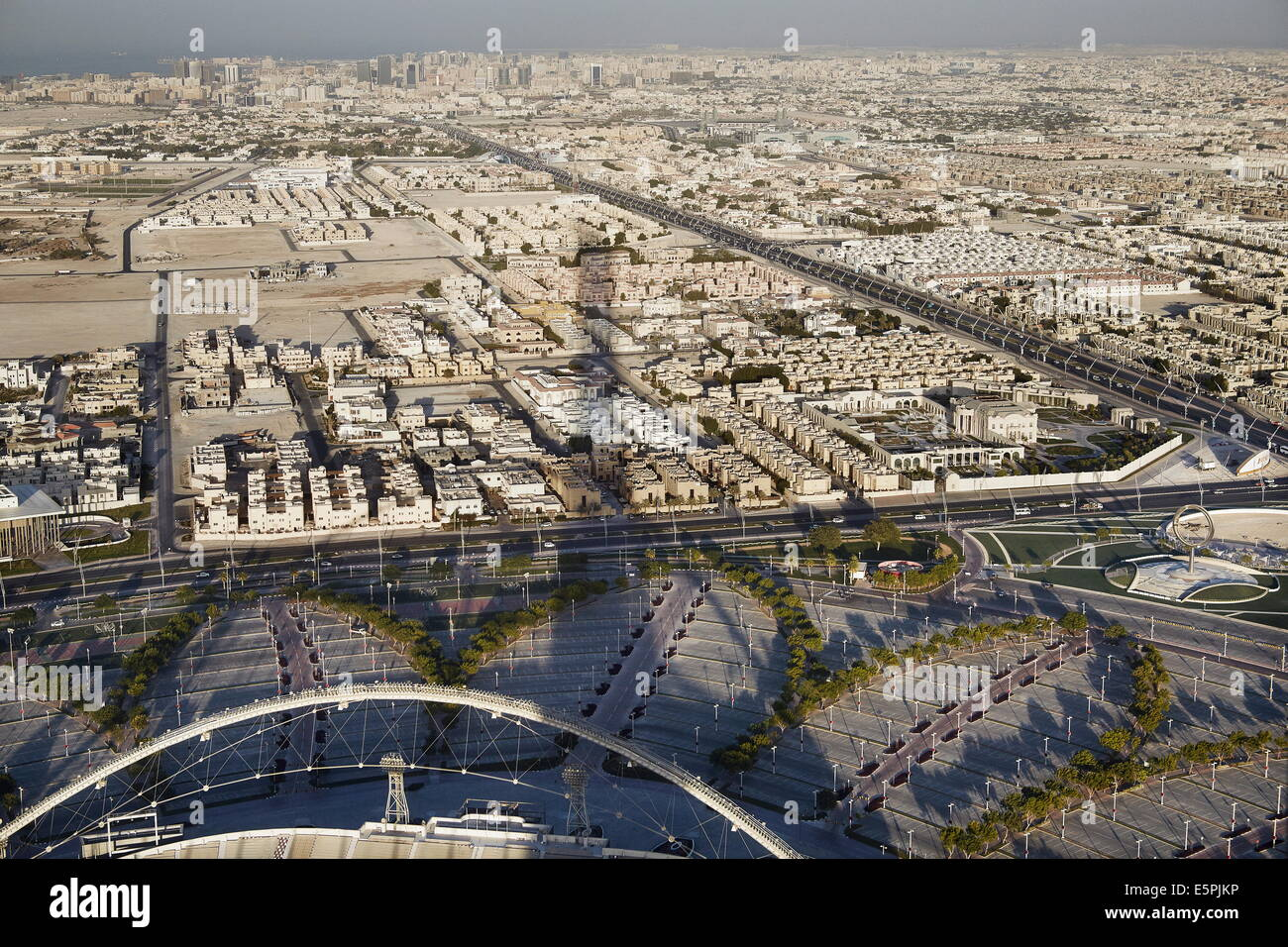 Aerial view of Doha from the Aspire Tower viewing platform, Doha, Qatar, Middle East - Stock Image