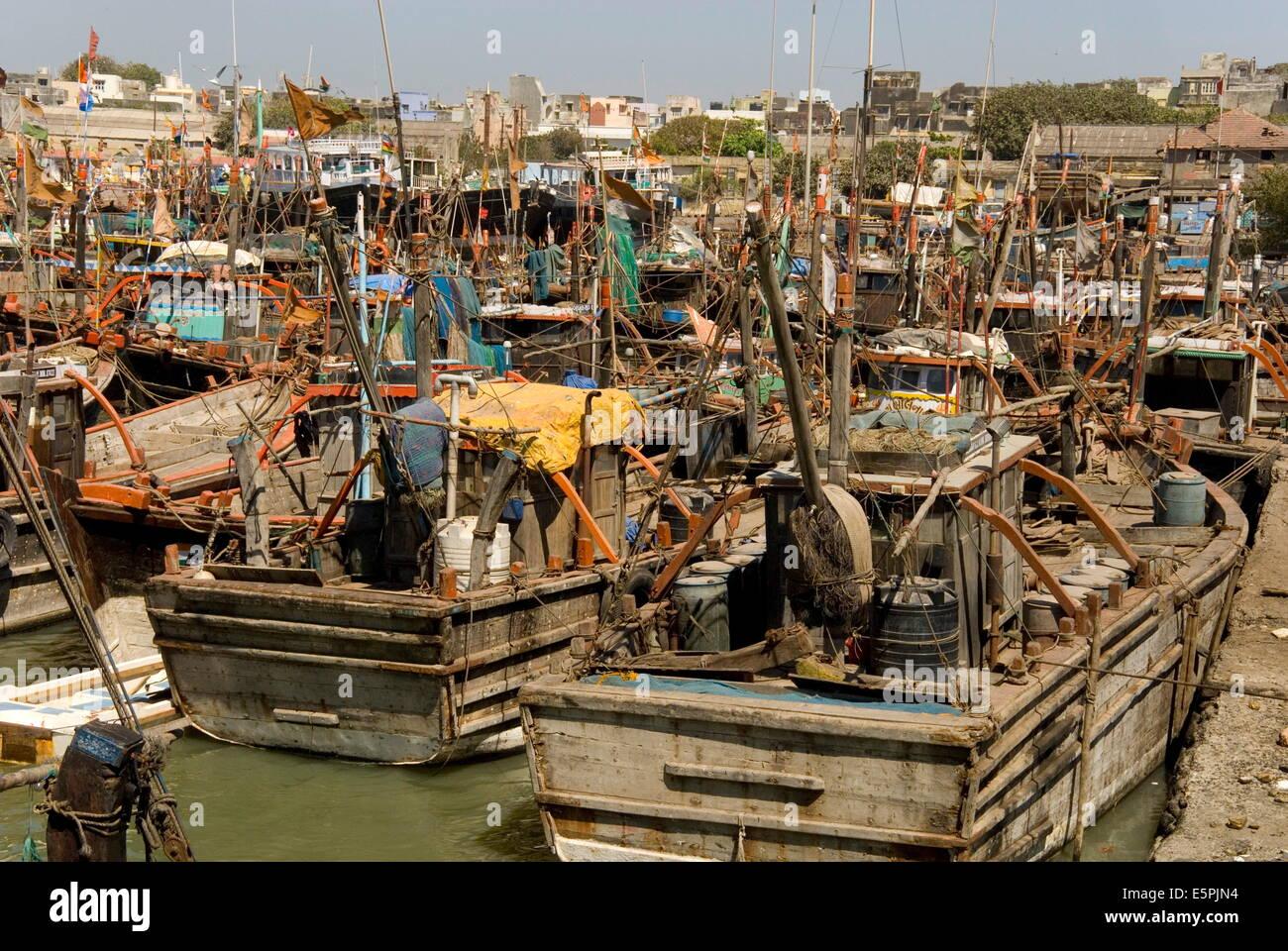 Fishing boat harbour, Porbander, Gujarat, India, Asia - Stock Image