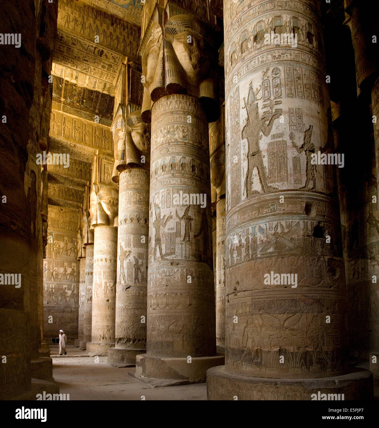 The Outer Hypostyle Hall in the Temple of Hathor, Dendera necropolis, Qena, Nile Valley, Egypt, North Africa, Africa - Stock Image