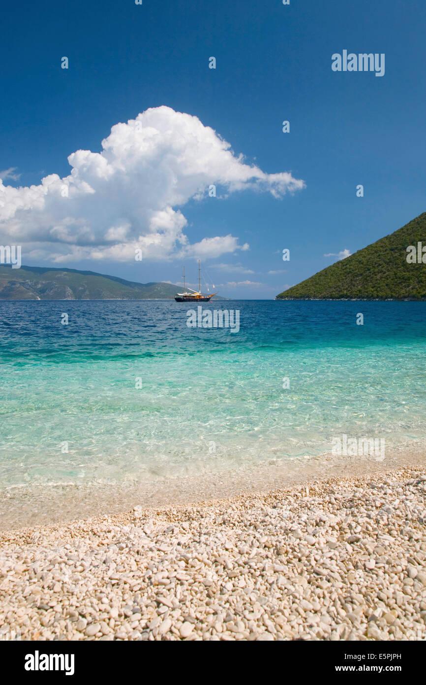 View from pebble beach across Antisamos Bay, Sami, Kefalonia (Kefallonia, Cephalonia), Ionian Islands, Greek Islands, - Stock Image