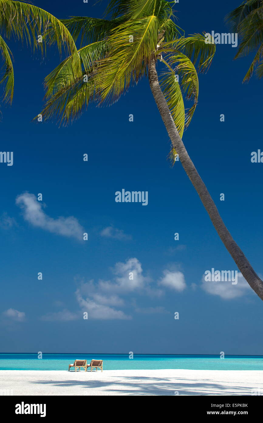 Lounge chairs on tropical beach, Maldives, Indian Ocean, Asia - Stock Image