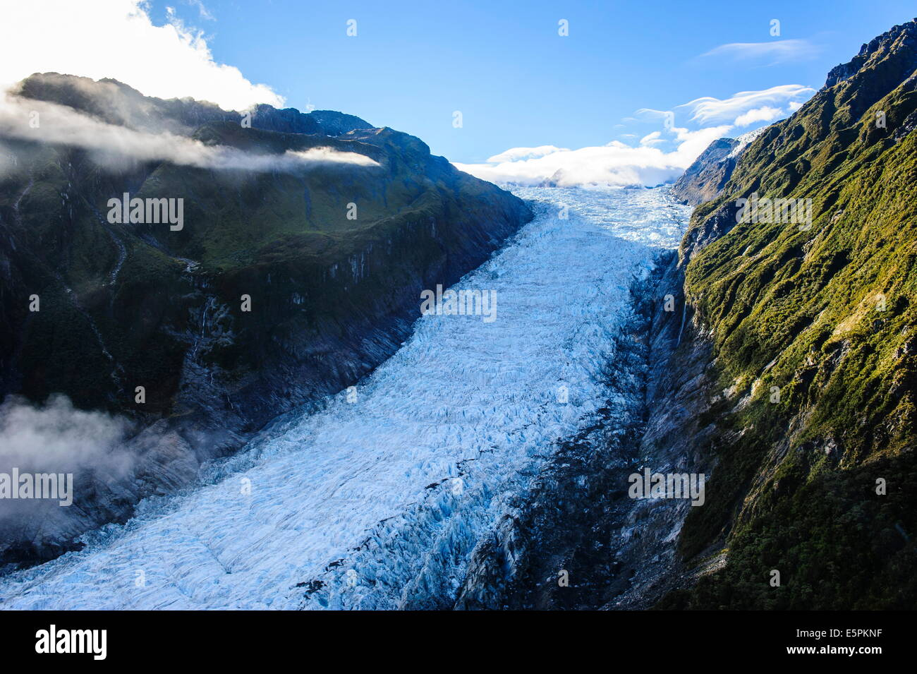 Aerial of Fox Glacier, Westland Tai Poutini National Park, South Island, New Zealand, Pacific - Stock Image