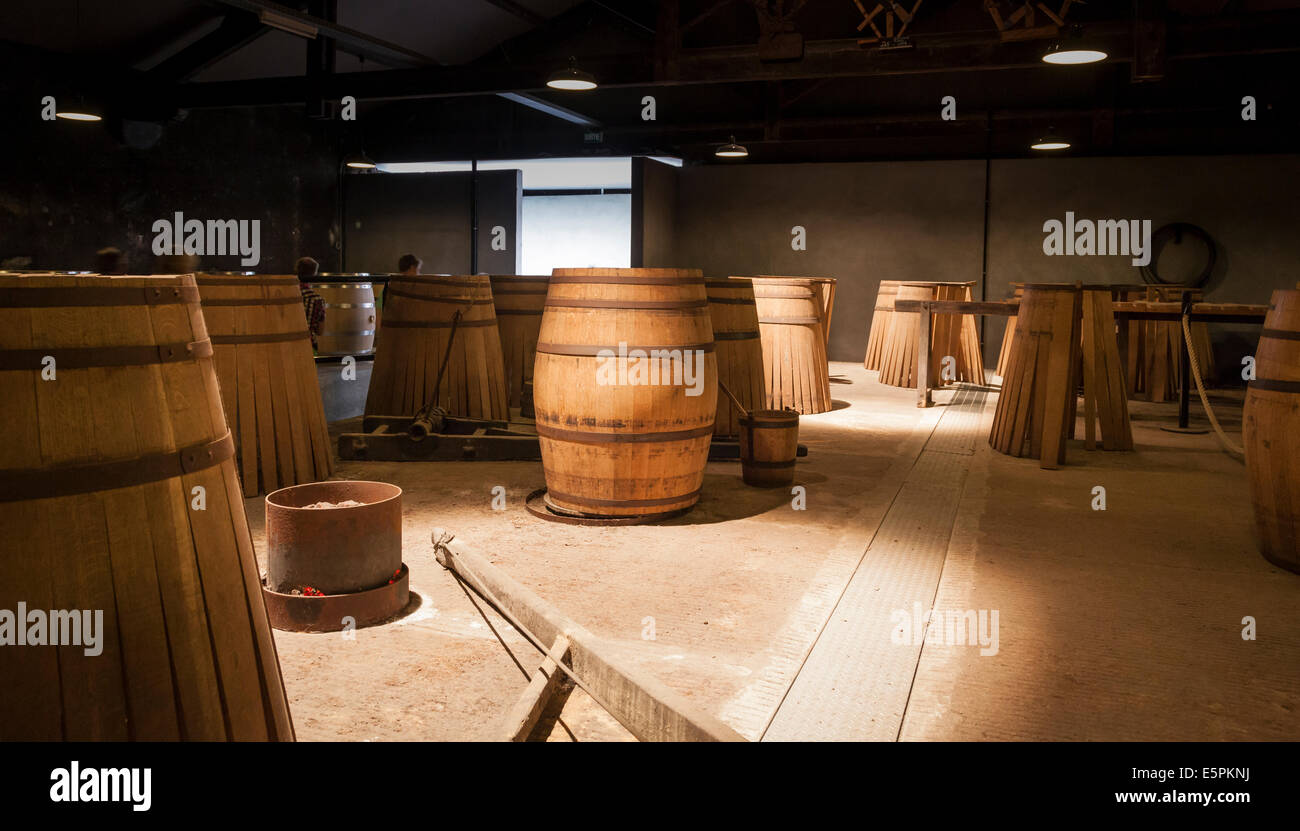 Display of making french oak barrels as part of the Hennessy tour. - Stock Image