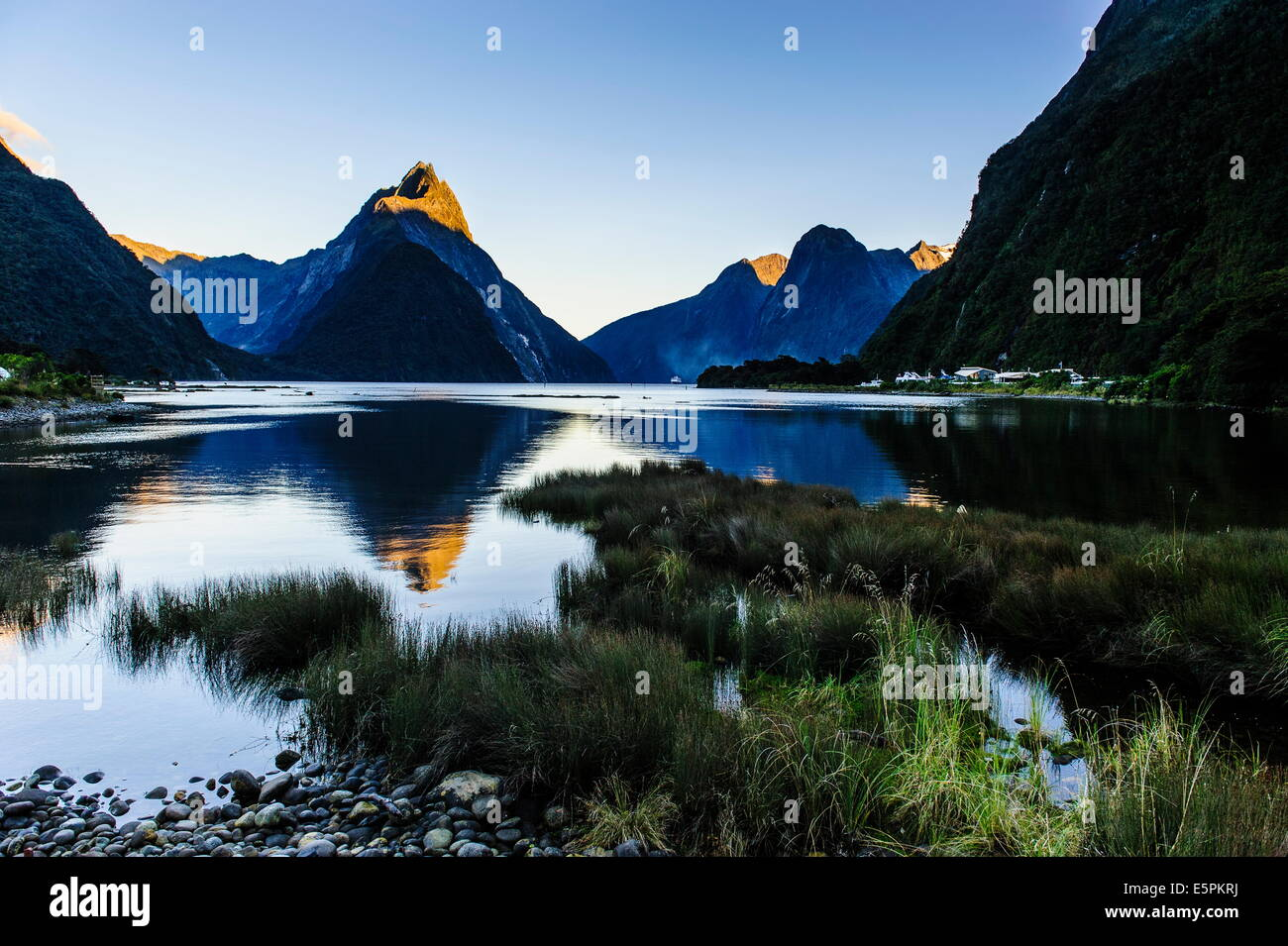 Early morning light in the Milford Sound, Fiordland National Park, UNESCO Site, South Island, New Zealand - Stock Image