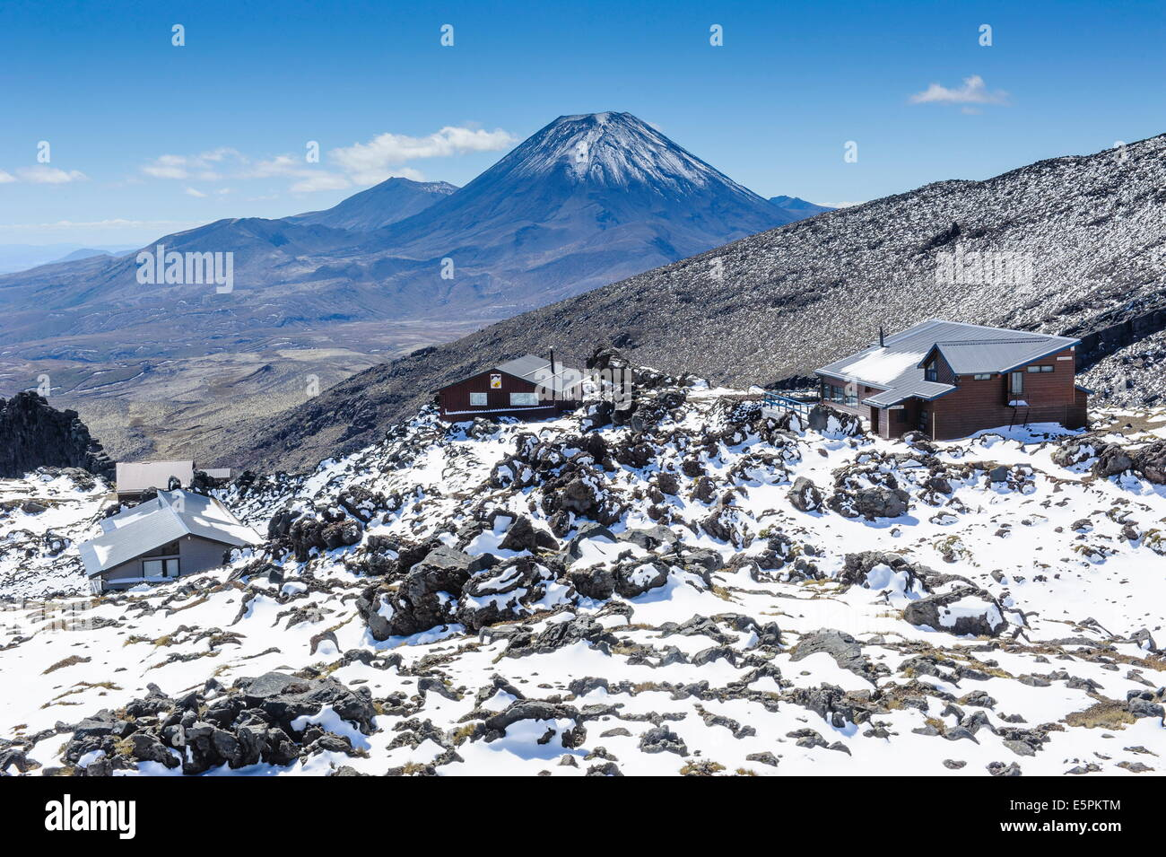 View from Mount Ruapehu of Mount Ngauruhoe, Tongariro National Park, UNESCO Site, North Island, New Zealand Stock Photo