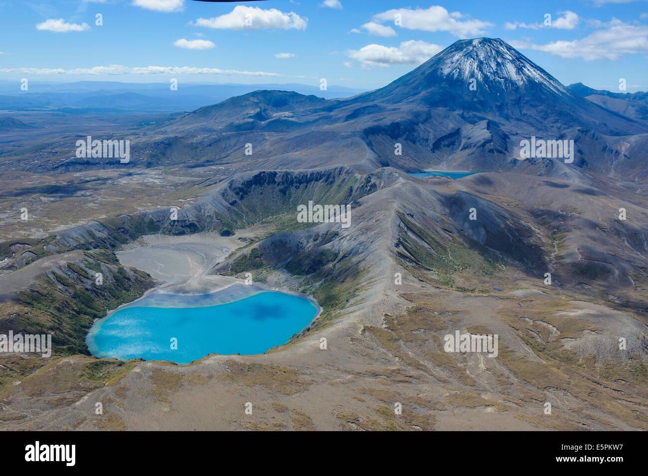 Aerial of the blue lake before Mount Ngauruhoe, Tongariro National Park, UNESCO Site, North Island, New Zealand - Stock Image