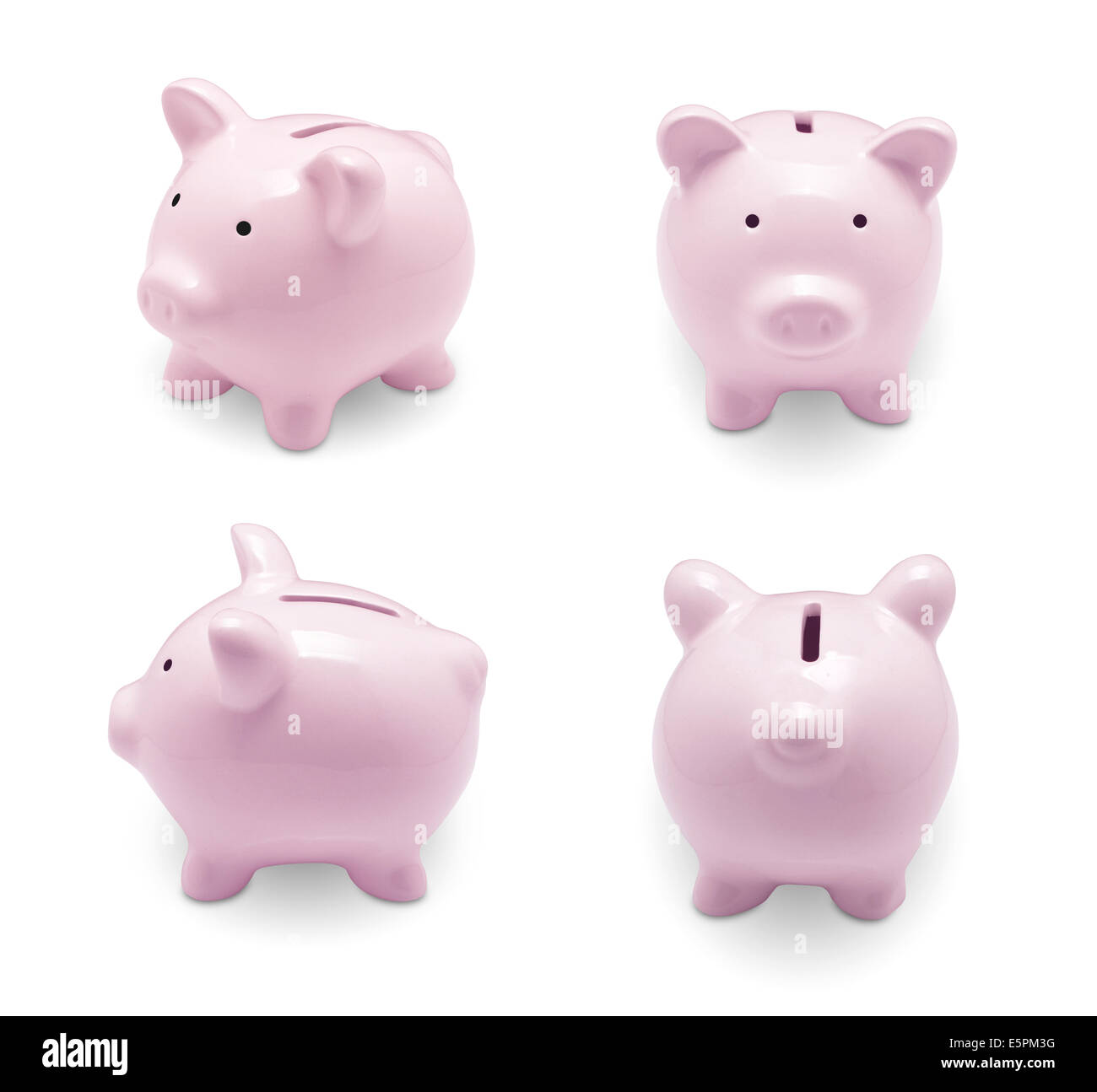 Set of pink piggy bank isolated on white background Stock Photo