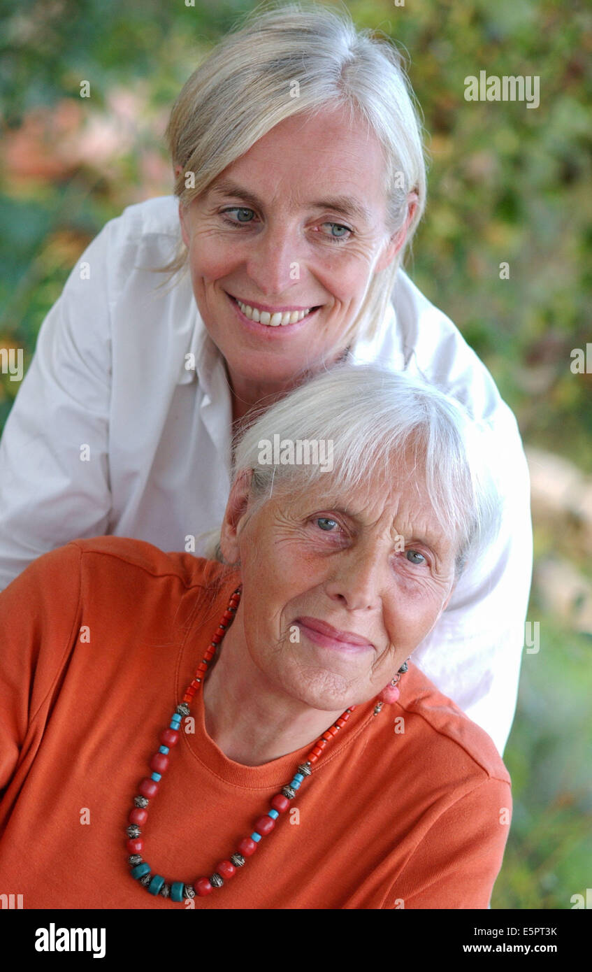 80-year-old woman and her 50-year-old daughter. - Stock Image