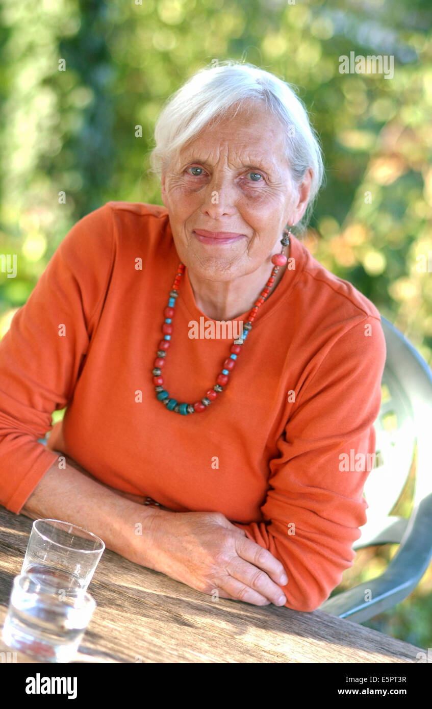 Portrait of a 80-year-old woman. - Stock Image