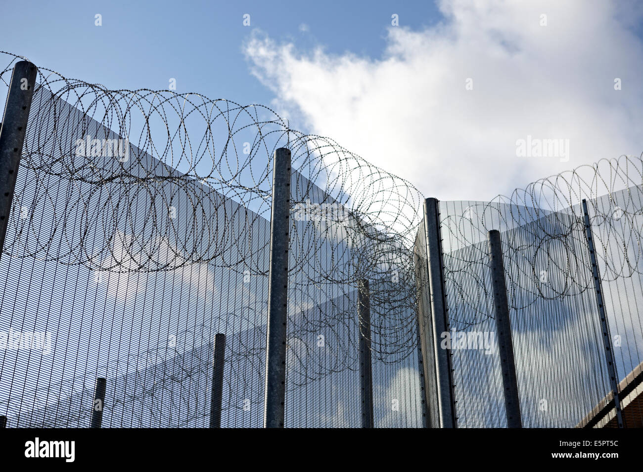 High security fencing, razor and barbed wire around the perimeter of ...