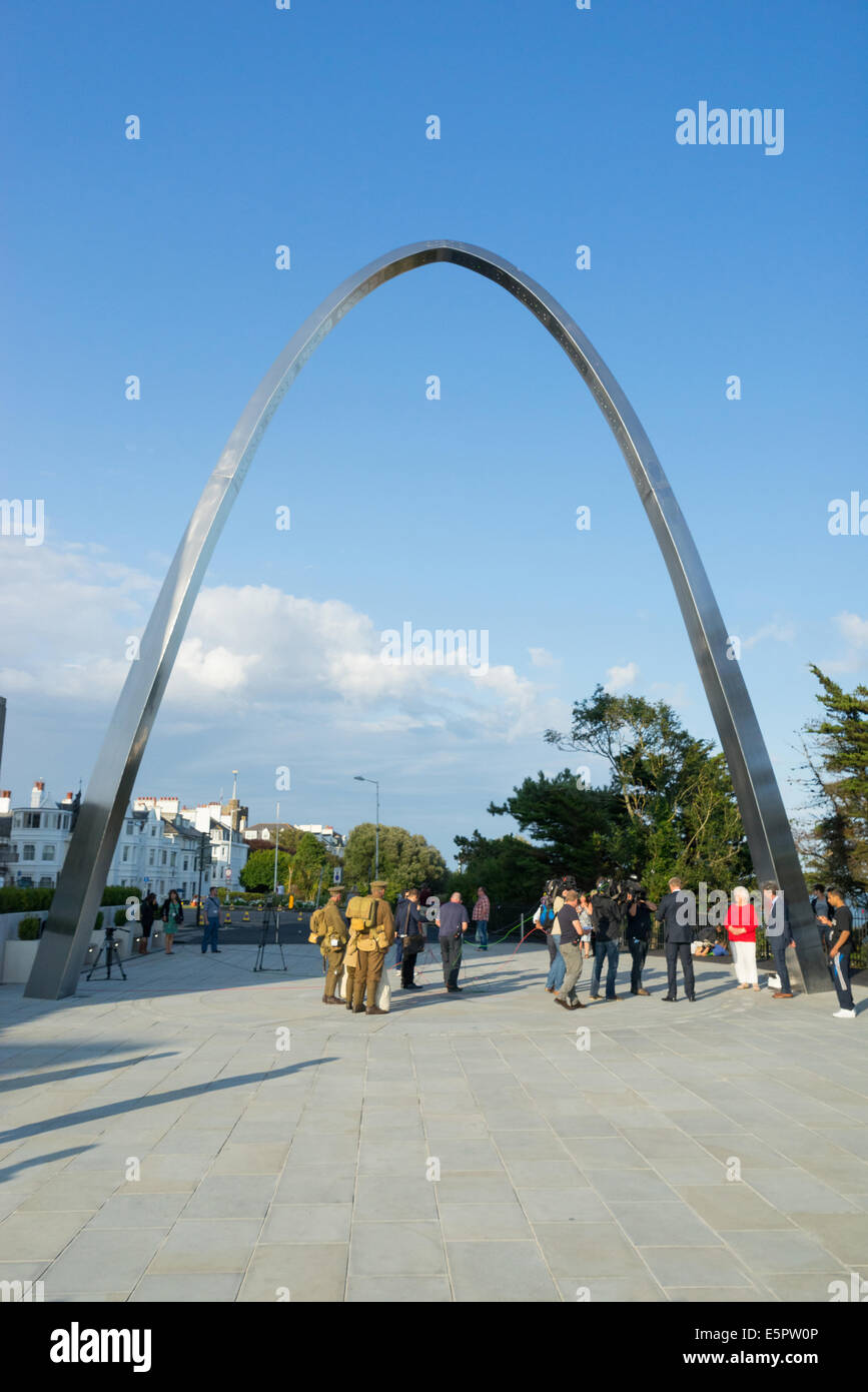 Folkestone, Kent, 4th August 2014. The First World War Step Short Memorial Arch in Folkestone, Kent, UK.  The Step - Stock Image