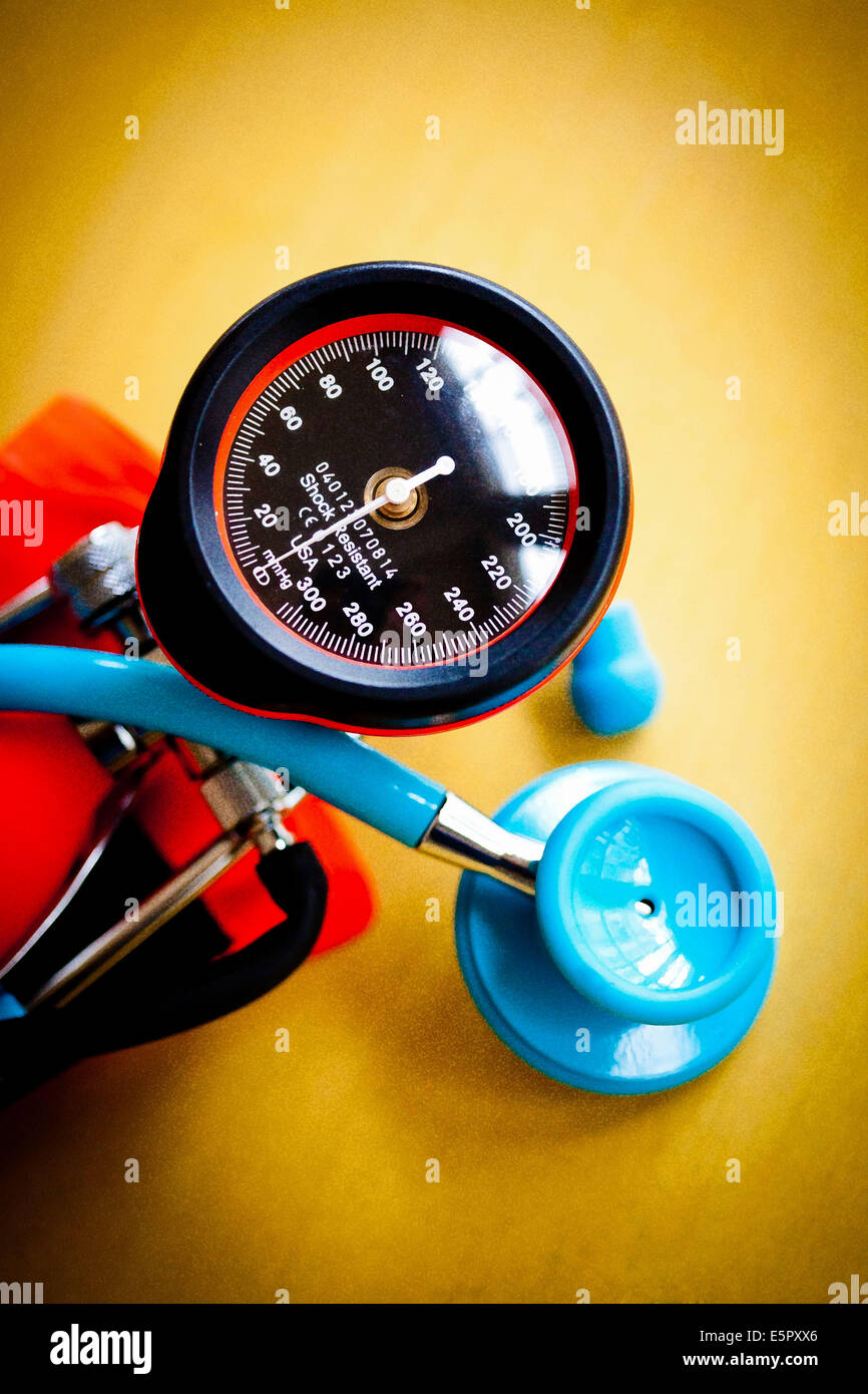 Stethoscope and sphygmomanometer. - Stock Image