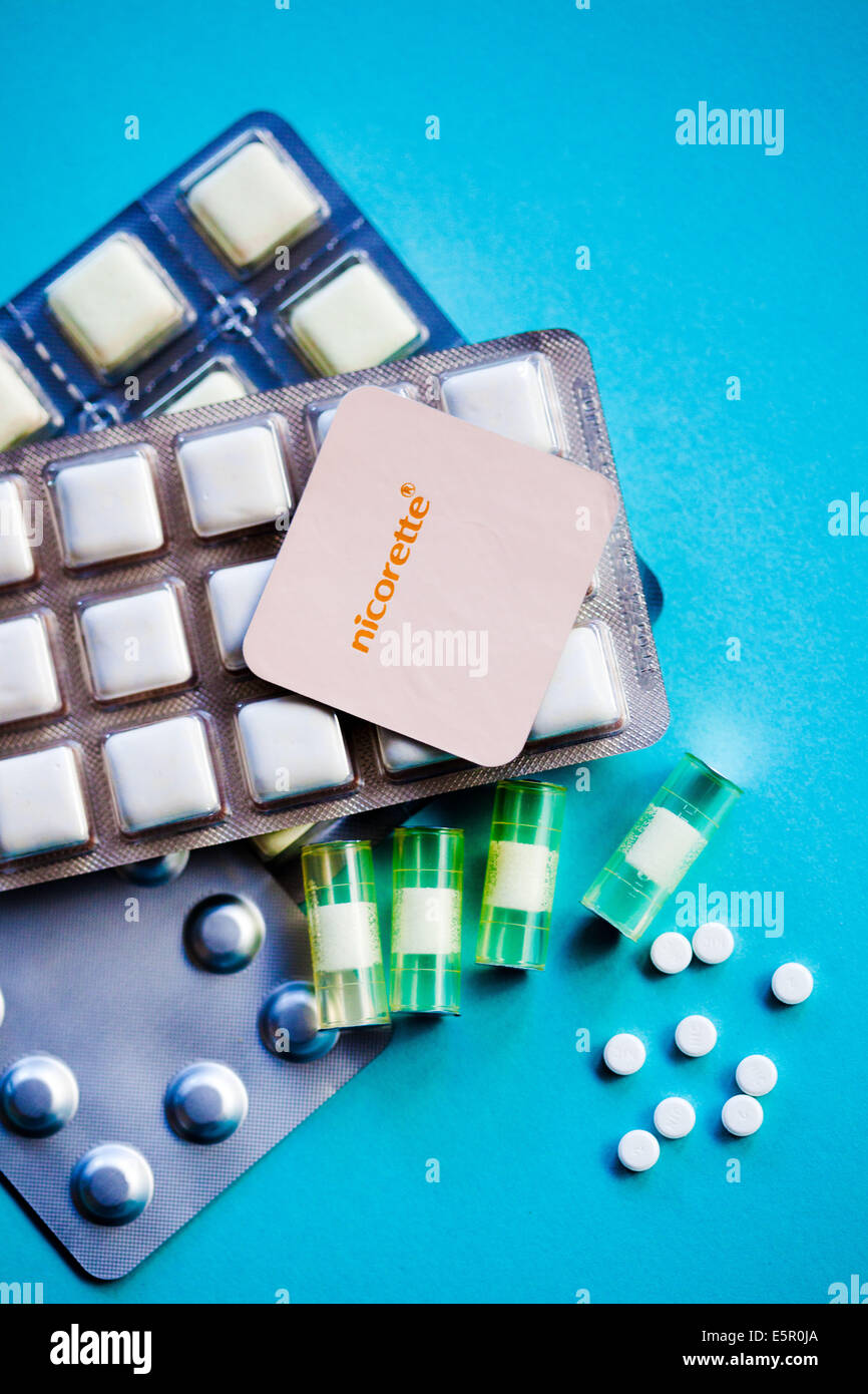 Nicotine inhaler, patches, tablets and gums. - Stock Image