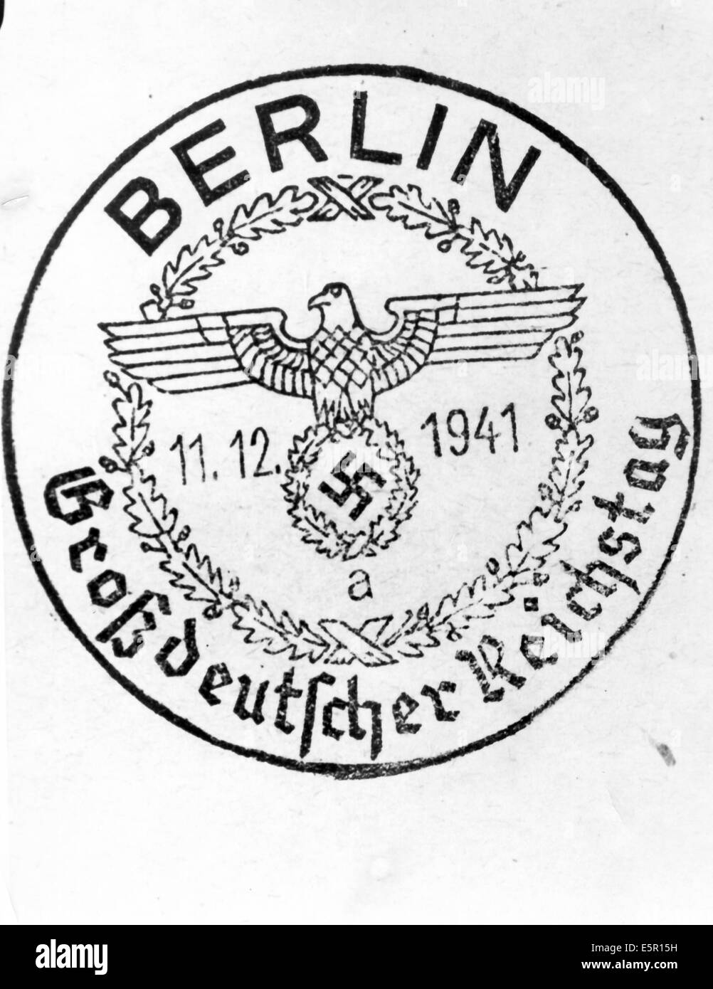 A special postmark stamp for the session of the Grossdeutscher Reichstag (Greater German Reichstag) in Berlin, Germany, - Stock Image