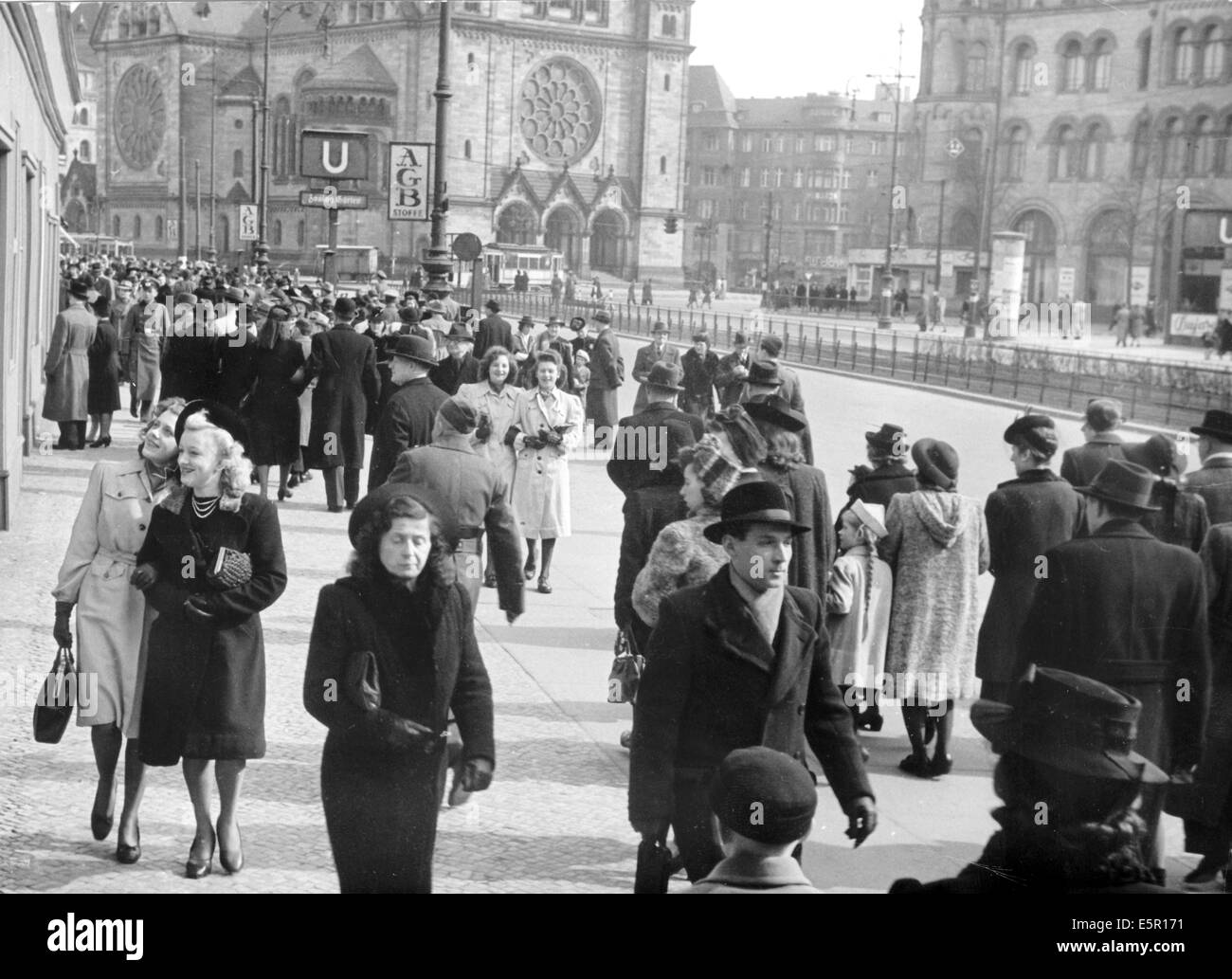 The picture from a Nazi news report shows people taking an Easter stroll near Zoologischer Garten station with the Stock Photo