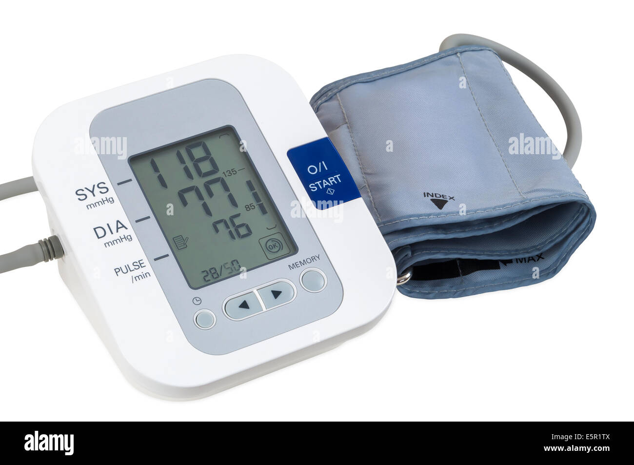 Digital blood pressure monitor isolated on white background with clipping path - Stock Image