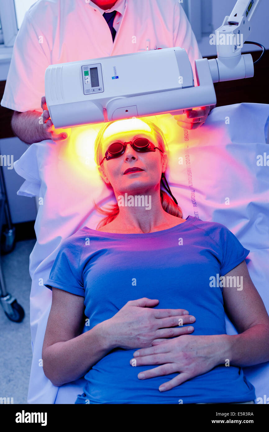 Topical Photodynamic Therapy (TPT), non-invasive treatment designed to reduce skin damage; Dermatology department - Stock Image