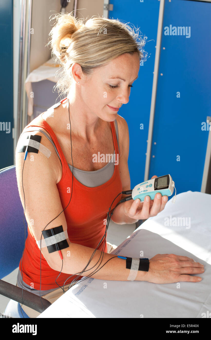 Transcutaneous Electrical Nerve Stimulation (TENS) Therapy, Limoges hospital, France. - Stock Image