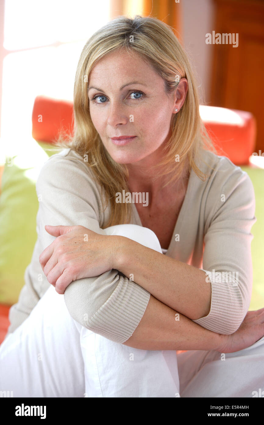 Portrait of a 40 years old woman. - Stock Image