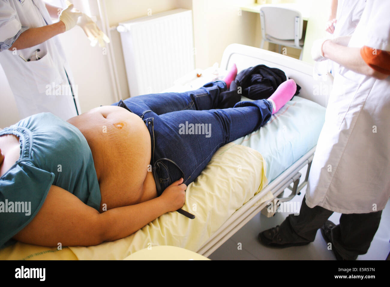 Puncture of fatty tissue from obese persons to be analysed, Departement of Nutrition of Pr Basdevant, endocrinology - Stock Image