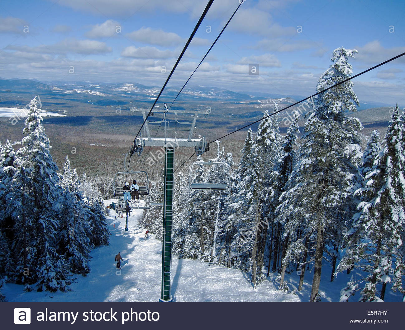 Alpine skiing at Saddleback Mountain in Sandy River Plantation, Maine, USA - Stock Image