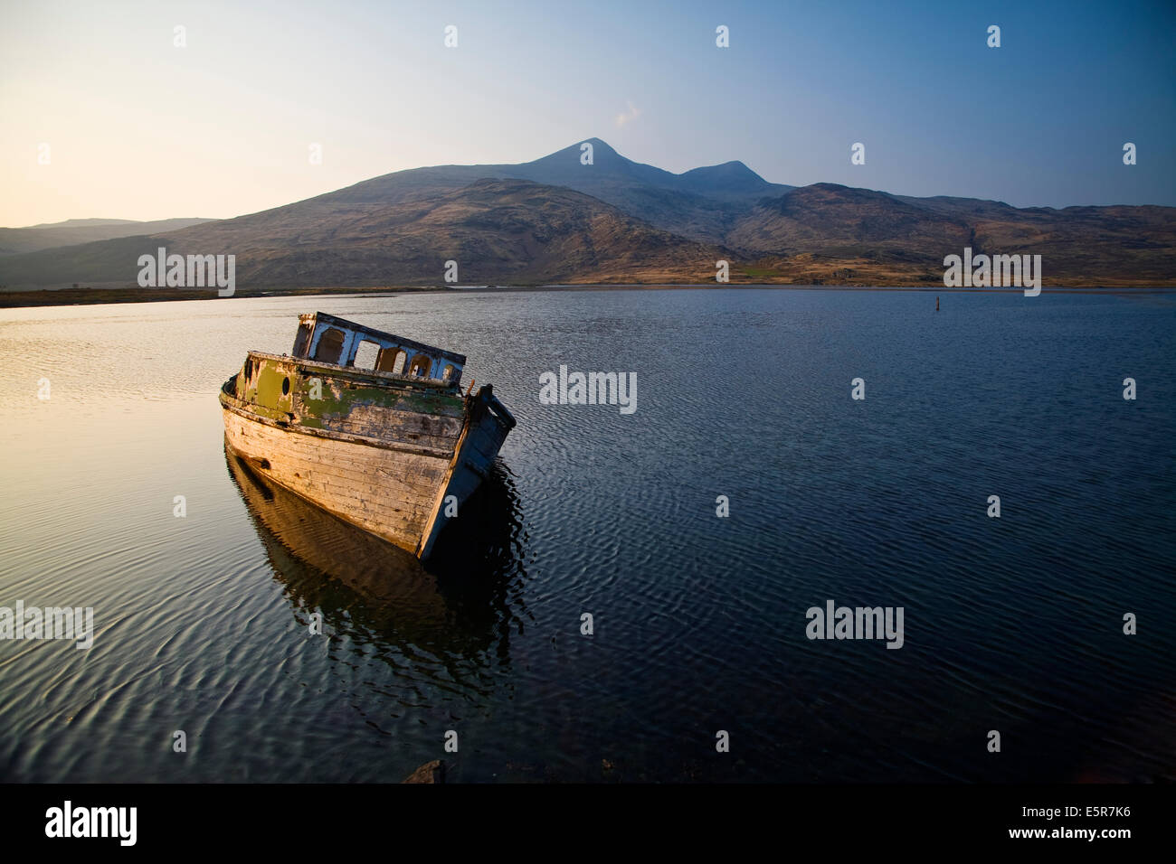 Wreck of old wooden boat in evening light in Loch Scridain, Isle of Mull with Ben More in the background - Stock Image