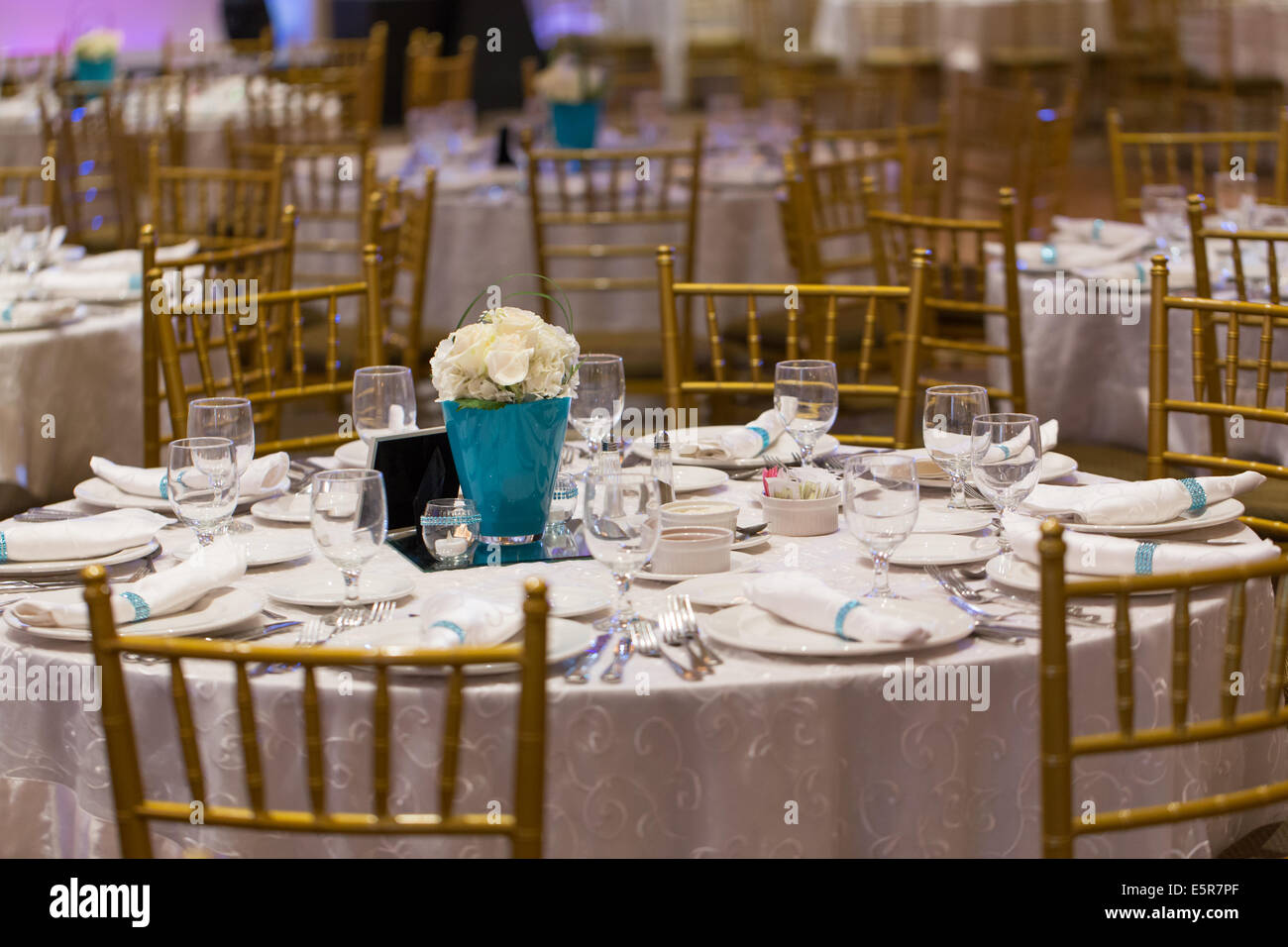 dining table setup decoration - Stock Image