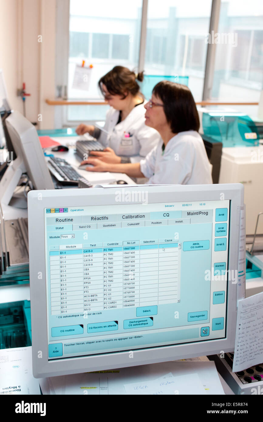 Automated line for Biochemistry and Molecular Genetics testings, Limoges hospital, France. - Stock Image