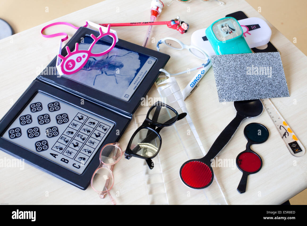 Medical equipment of an ophthalmology departement. - Stock Image