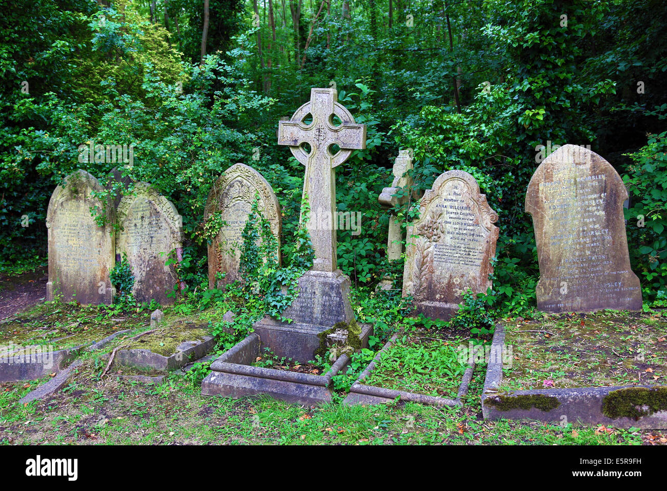 Graves in the Graveyard of Highgate Cemetery, London, England. Stock Photo