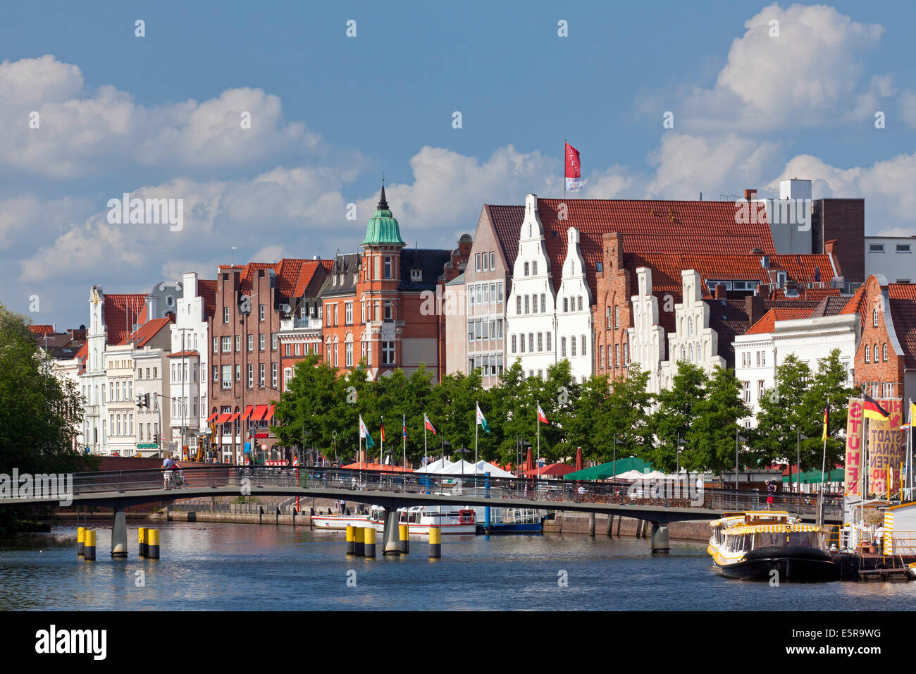 View over the river Trave at Obertrave in the Hanseatic town Lübeck, Schleswig-Holstein, Germany - Stock Image