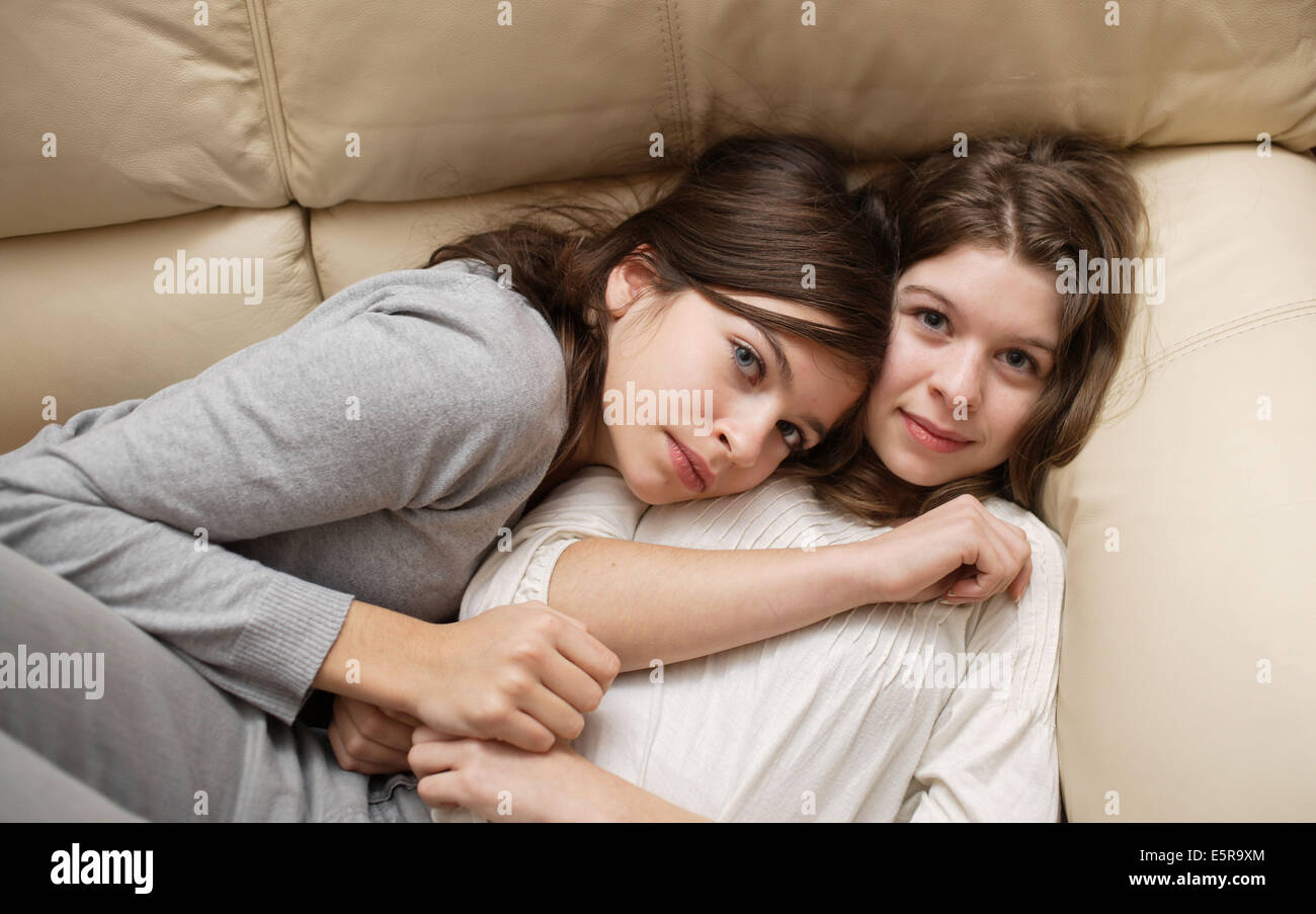 Two sisters of 13 and 14 year old. - Stock Image