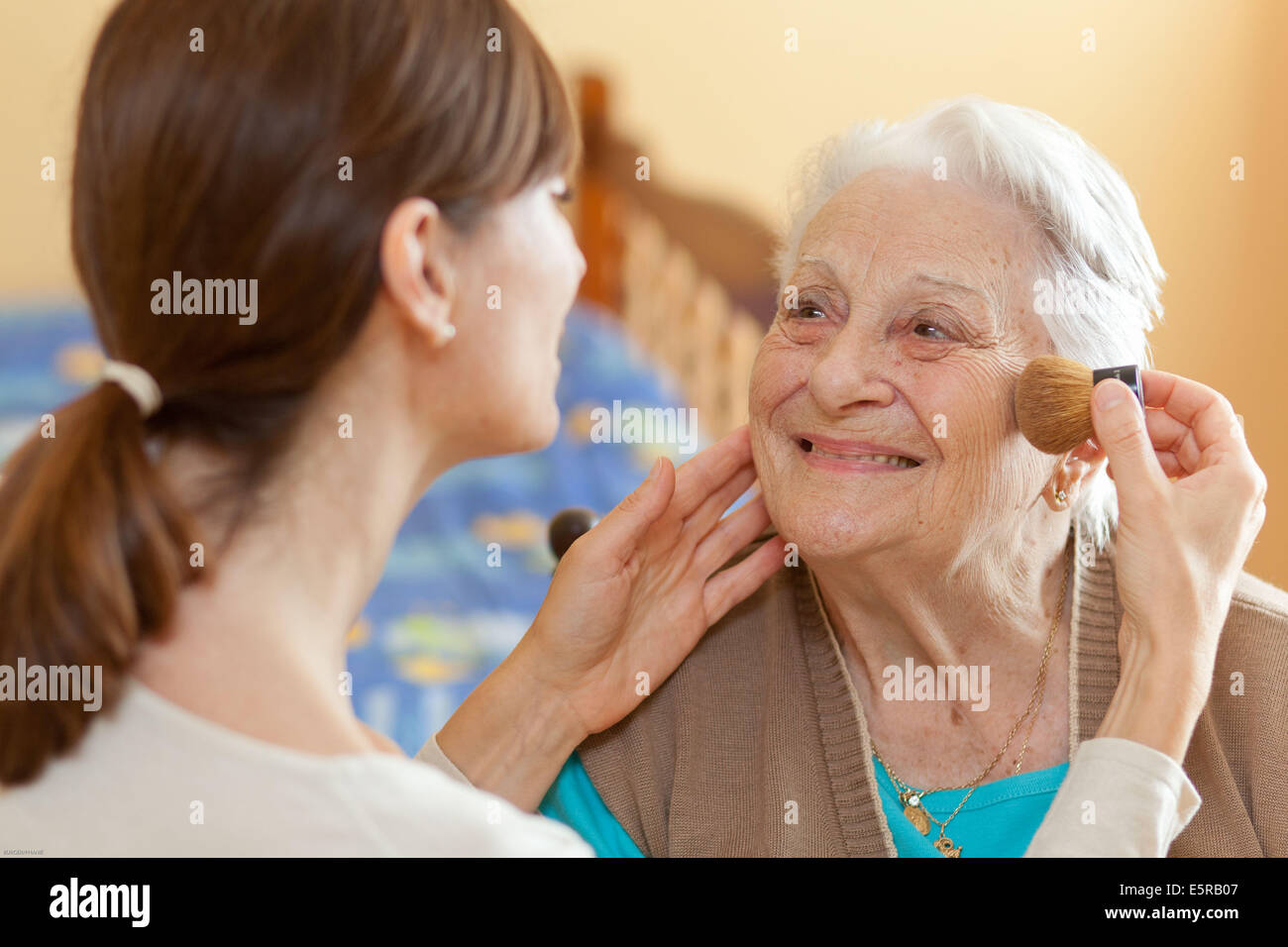 94 years old woman at home. - Stock Image