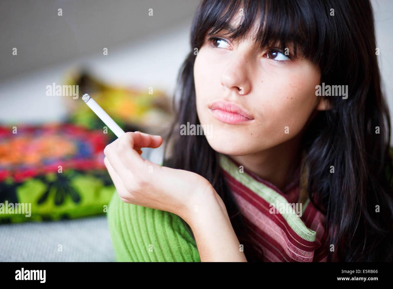 Teenage girl smoking cigarette, sex bloopers free vids