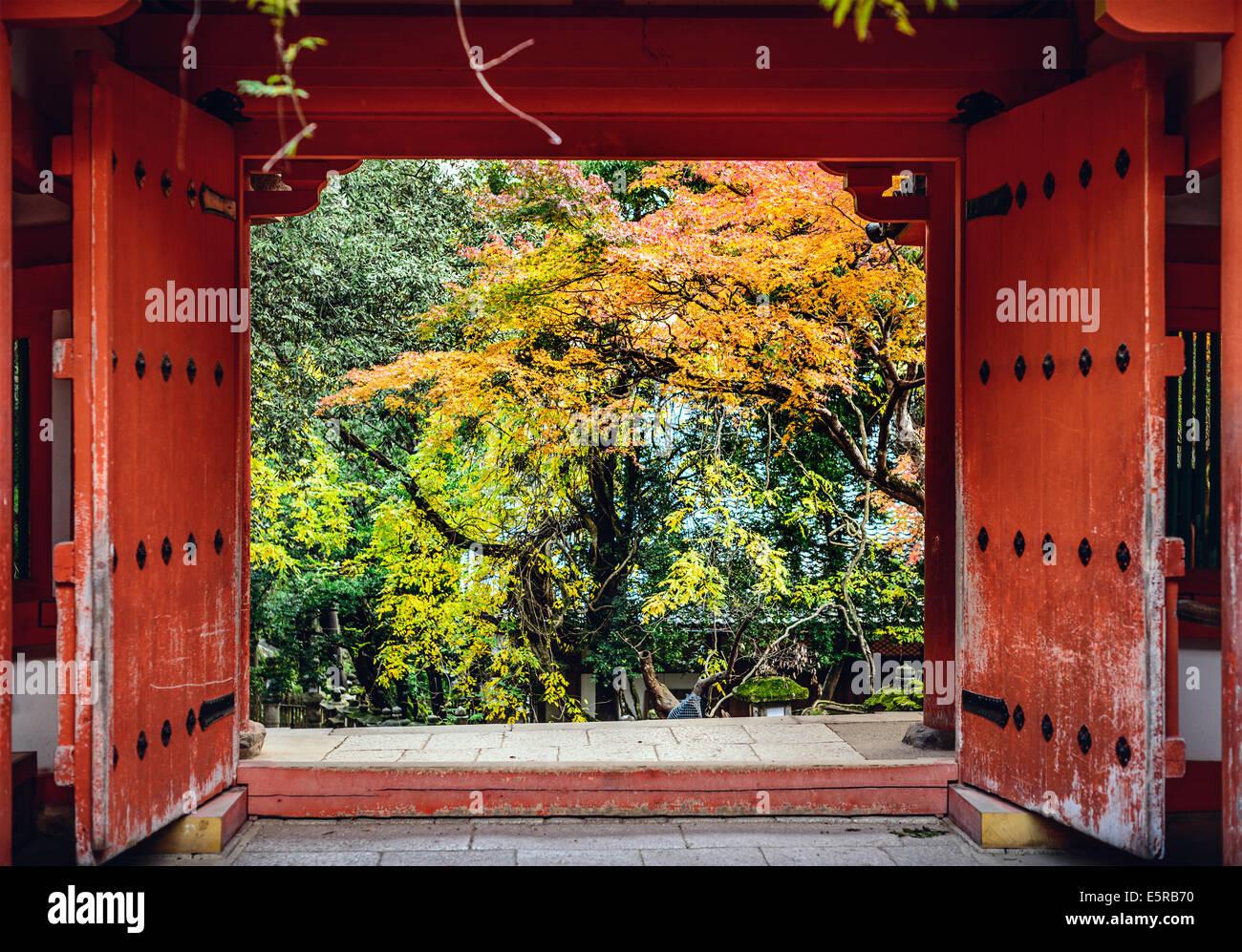 Nara, Japan at Kasuga-Taisha Shrine with fall foliage. Stock Photo