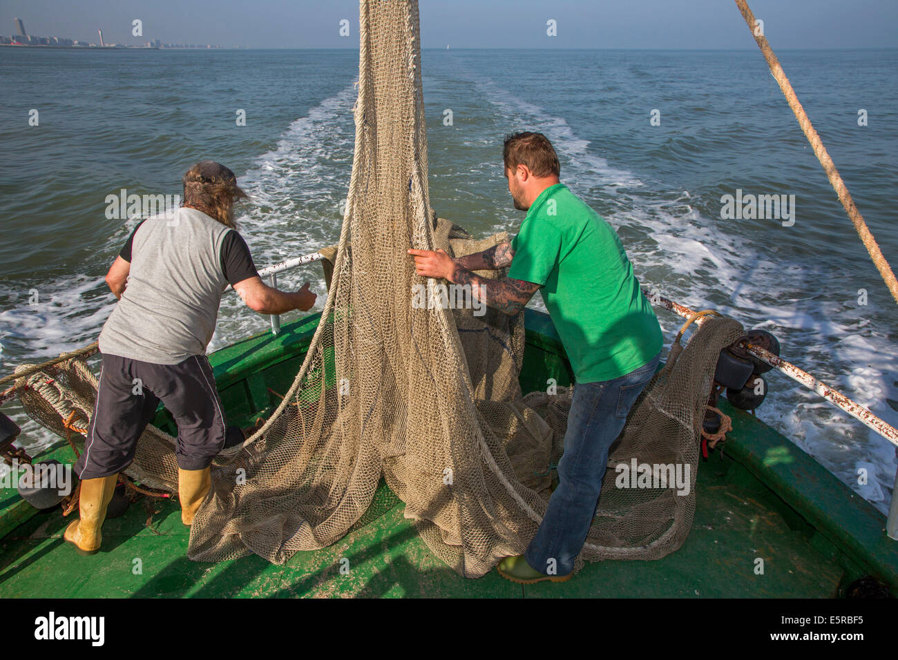Fishermen preparing fish net on board of shrimp boat fishing for shrimps on the North Sea - Stock Image