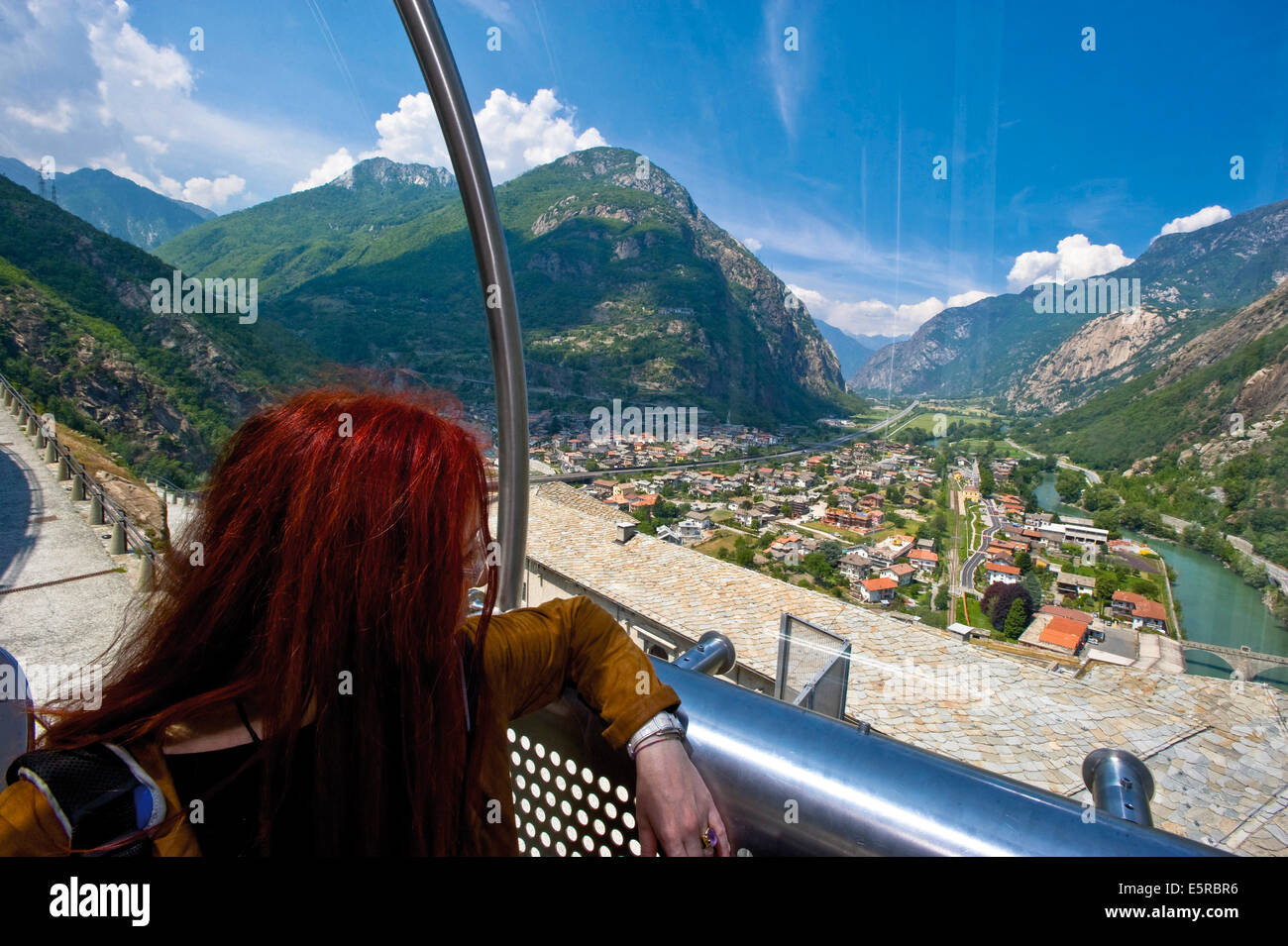 Italy Valley of Aosta Bard the Fort From the panoramic elevator - Stock Image