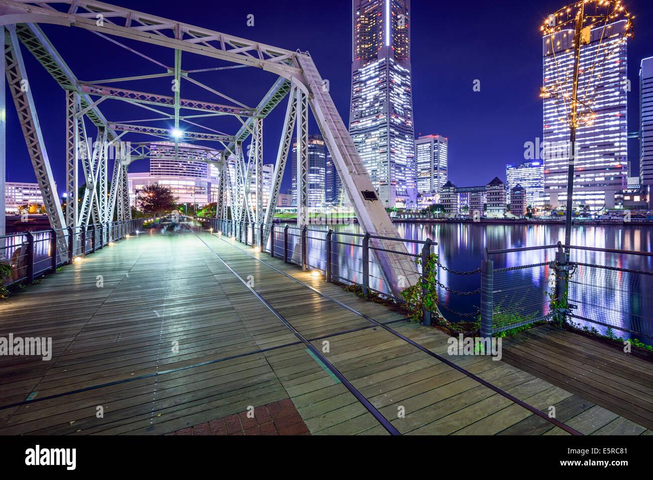 Yokohama, Japan at Minato Mirai park and pedestrian bridge. - Stock Image