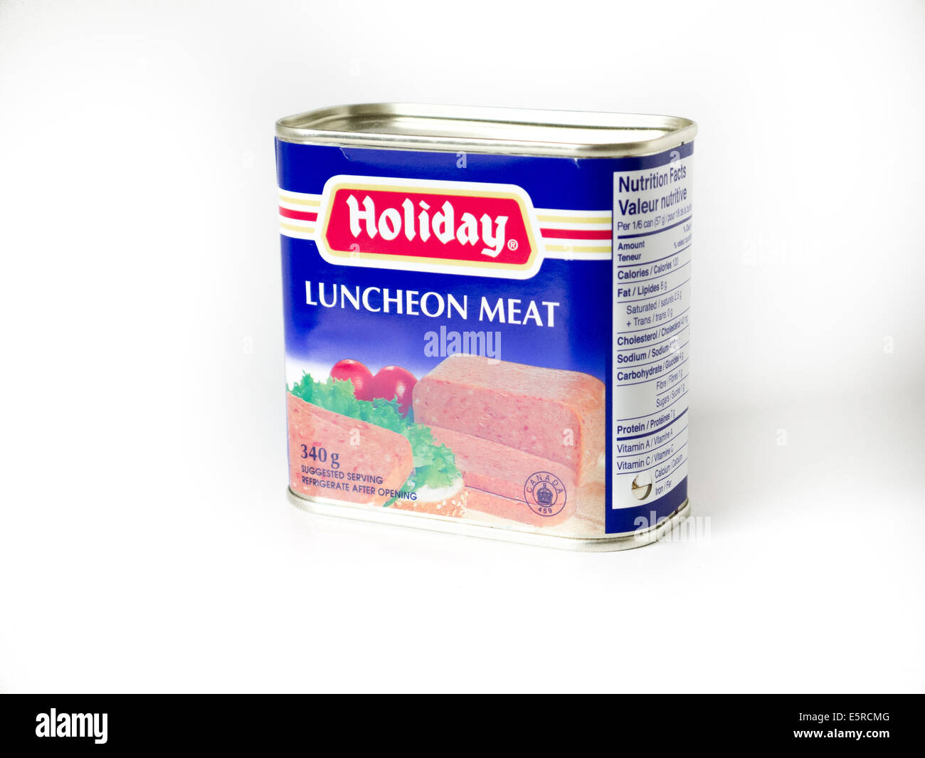 luncheon meat spam can - Stock Image