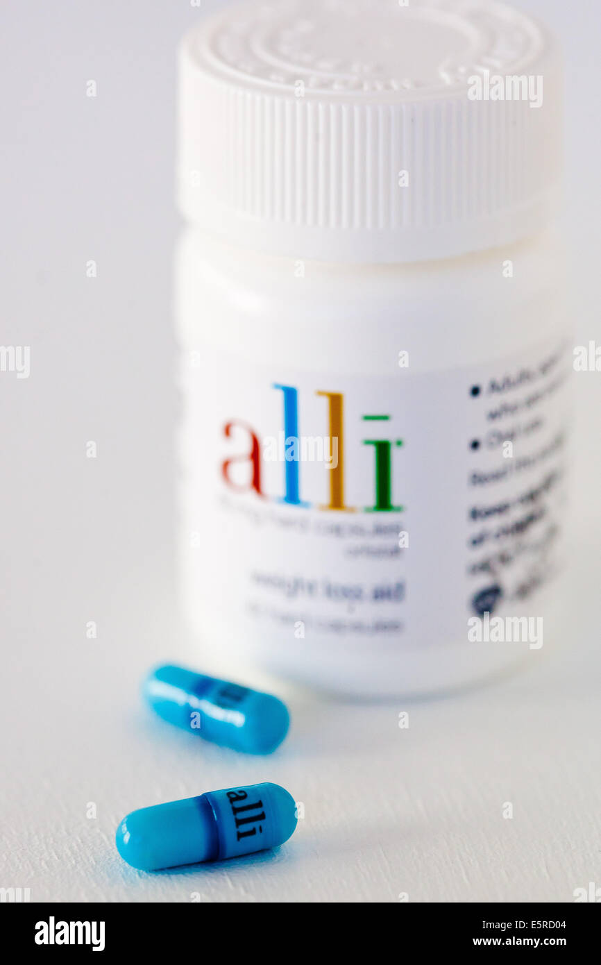 Alli is a half-dose version of the diet drug Xenical (Orlistat) produced by GlaxoSmithKline (GSK). Stock Photo