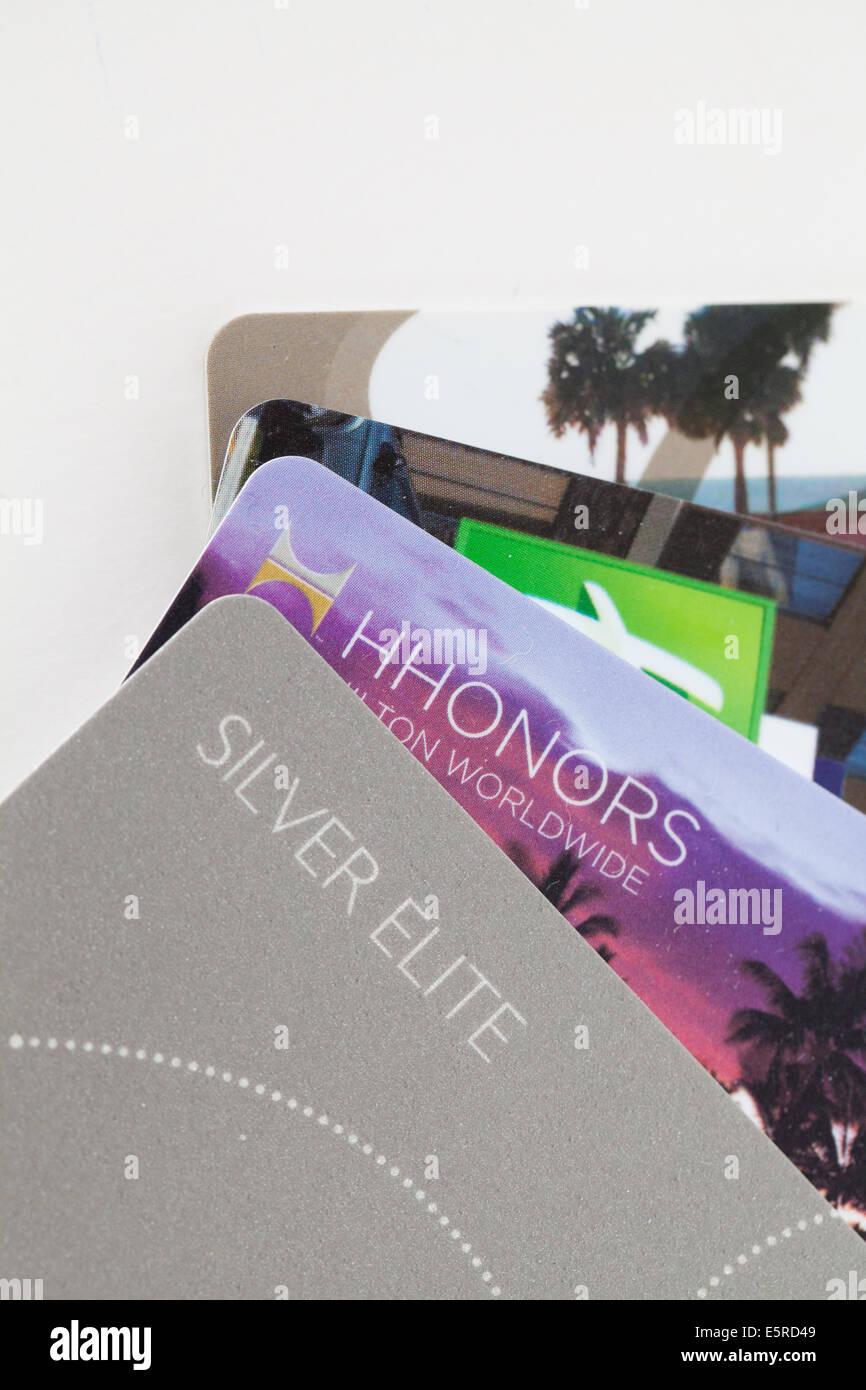 frequent traveler reward card program - Stock Image