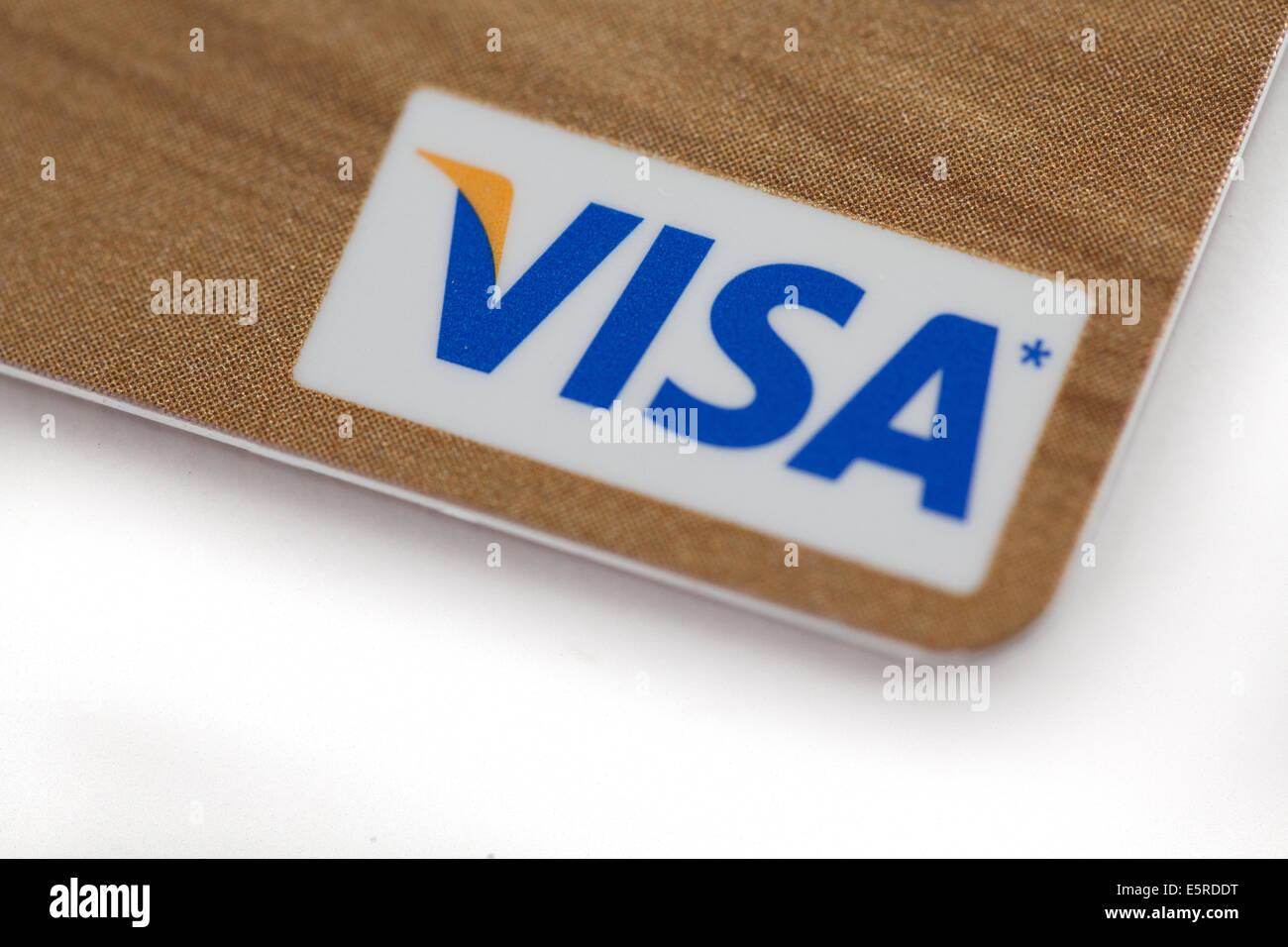 visa credit card logo closeup sign - Stock Image