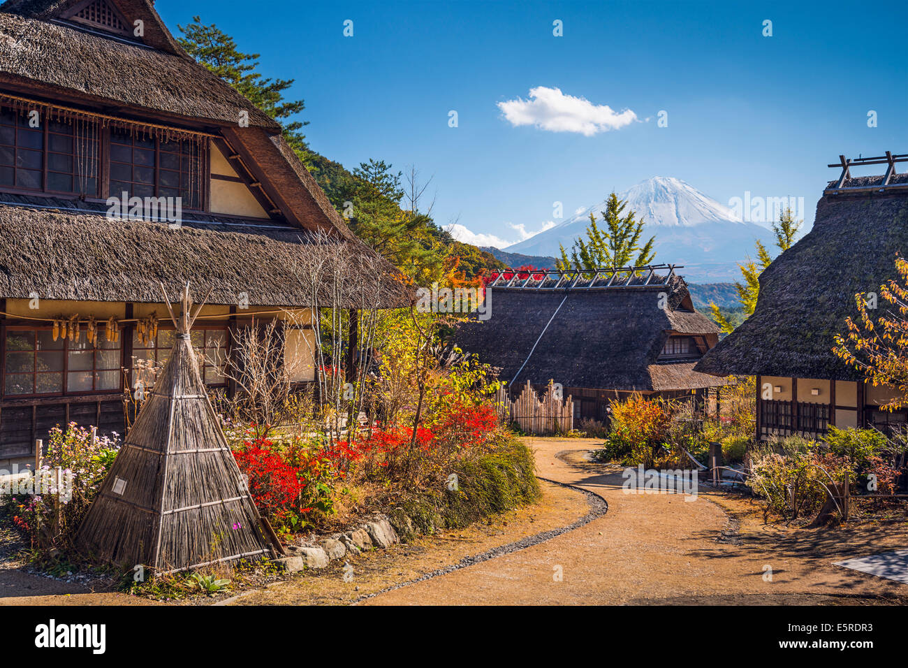 Mt. Fuji, Japan viewed from Iyashi-no-sato historic village. - Stock Image