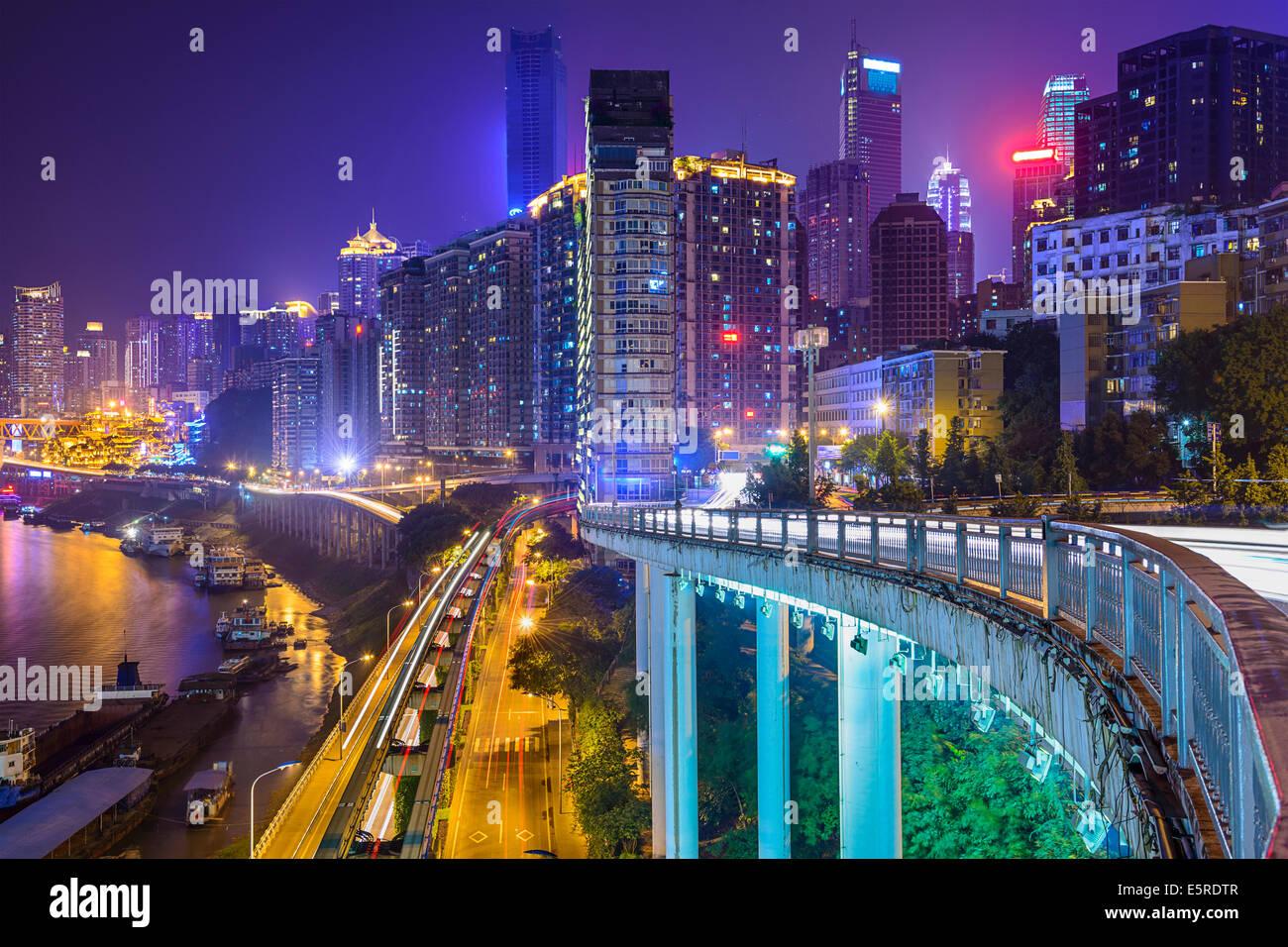 Chongqing, China night time cityscape. - Stock Image