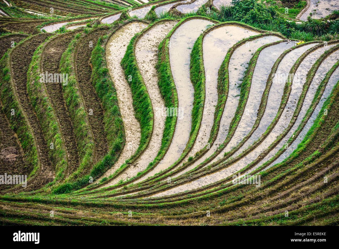 Village on Yaoshan Mountain in Guangxi, China. - Stock Image